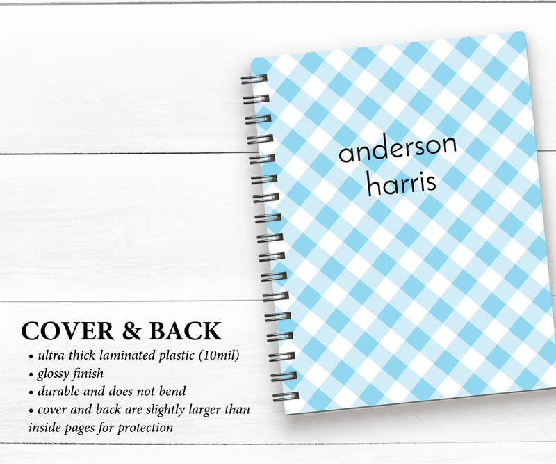 Personalized Notebook • Blue Gingham