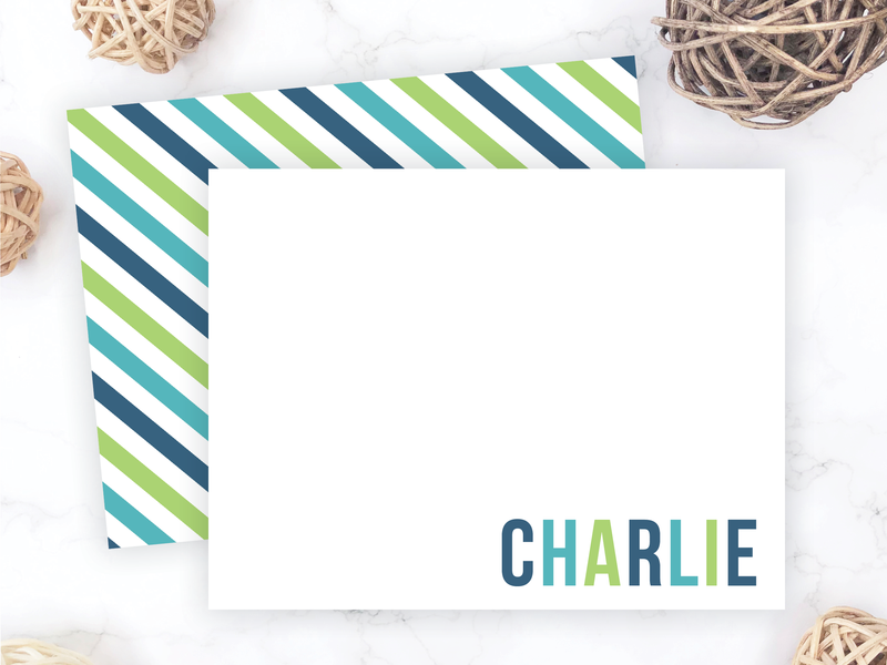 Blue & Green Striped Note Cards