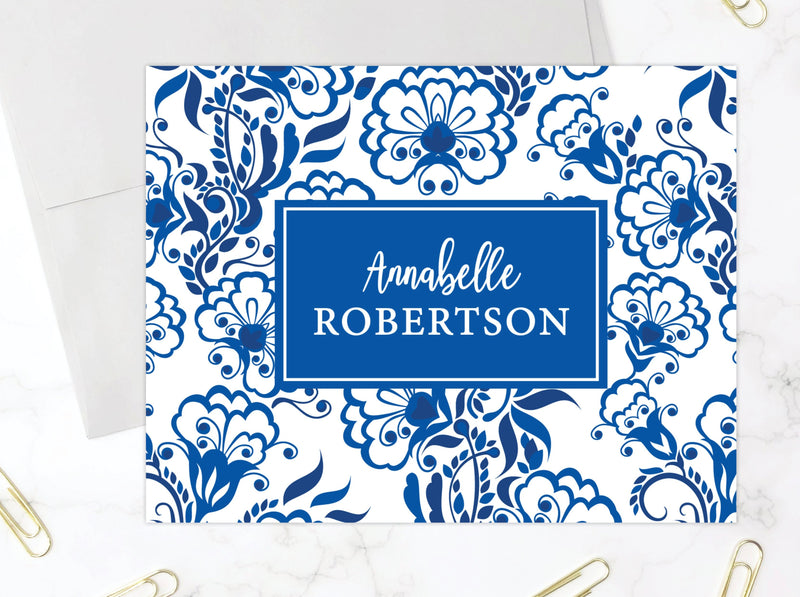 Blue and White Floral Stationery