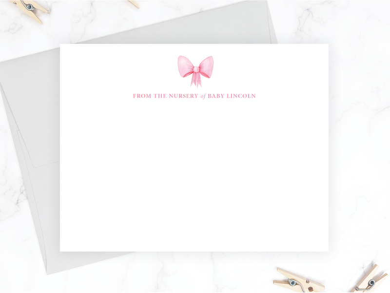 Pink Bow Baby Stationery