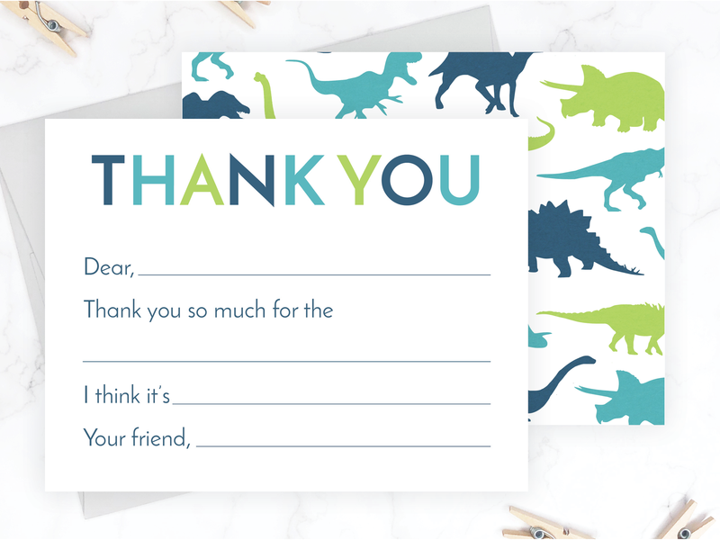 Dinosaur Kids Fill-in-the-Blank Thank You Cards