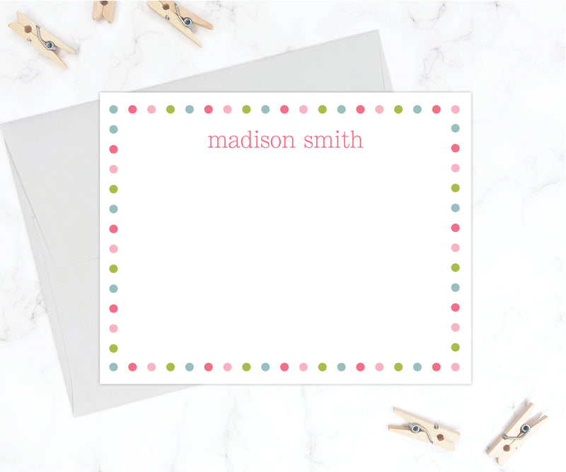 Polka Dot Border - Personalized Flat Stationery Set