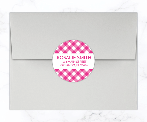 Hot Pink Gingham Return Address Labels