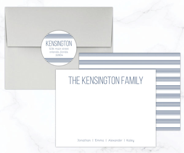Striped Personalized Stationery Set - Double Sided
