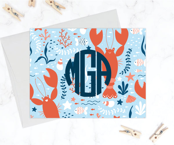 Little Lobster Monogram Stationery