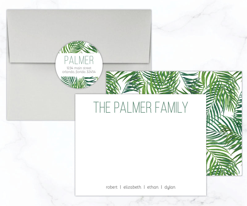 Tropical Leaves Family Stationery