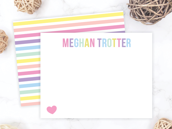 Rainbow Stripes Stationery Set