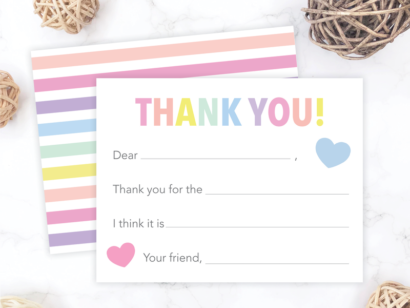 Rainbow Stripes Kids Fill-in-the-Blank Thank You Cards