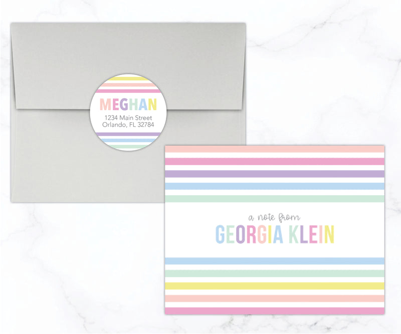 Pastel Rainbow Stripes Stationery
