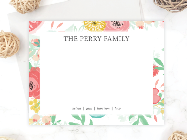 Watercolor Floral - Personalized Family Stationery Set
