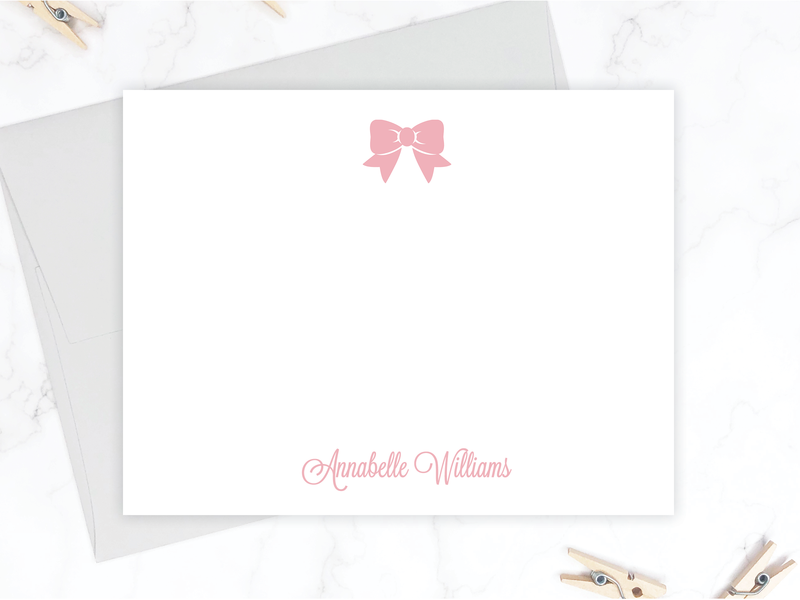 Pink Bow Stationery Set
