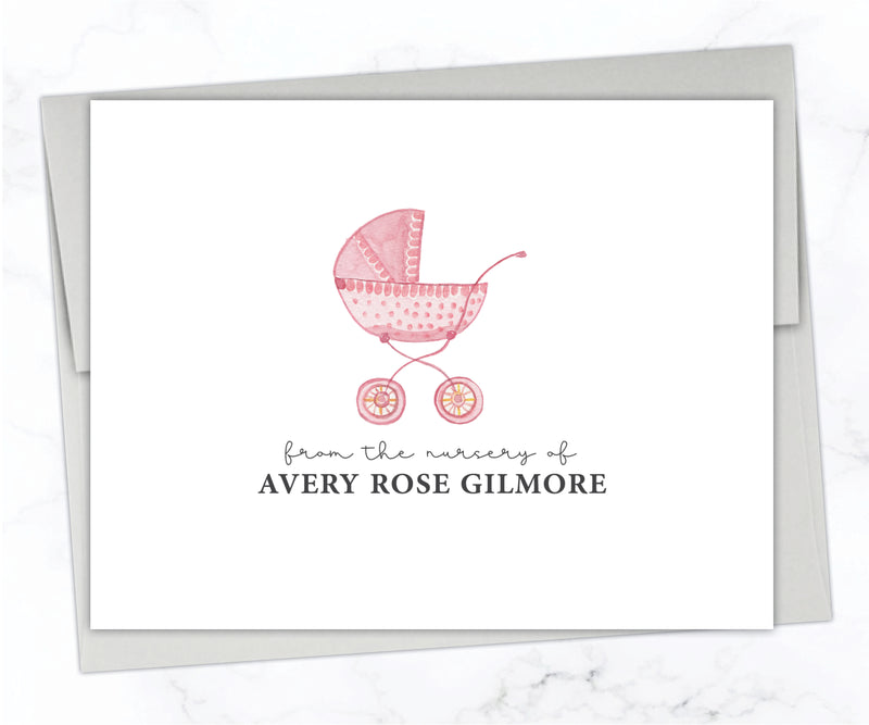 Pink Carriage Baby Stationery Set