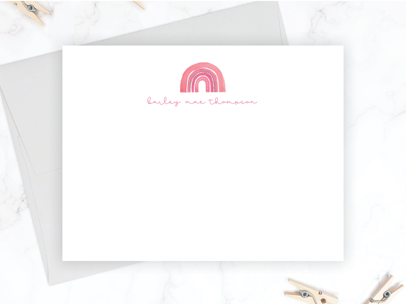 Whimsical Pink Rainbow Stationery Set