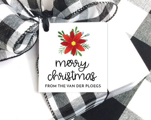 Holiday Gift Tags  |  Poinsettia