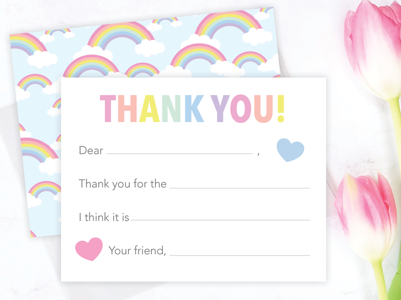 Rainbow Fill-in-the-Blank Thank You Cards