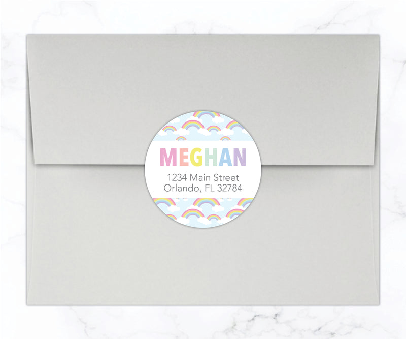 Rainbow Round Return Address Labels