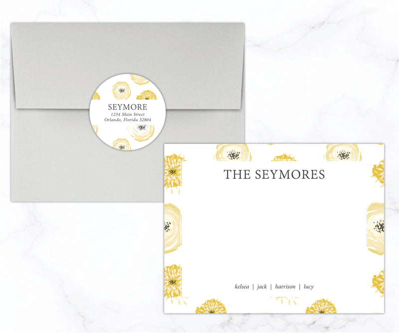Yellow Floral Family Stationery Set - Double Sided