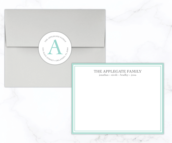 Simple Border - Personalized Family Stationery Set