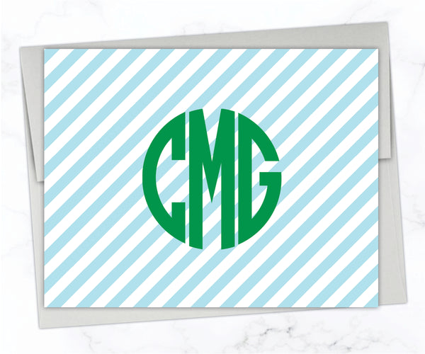 Circle Monogram Striped Stationery