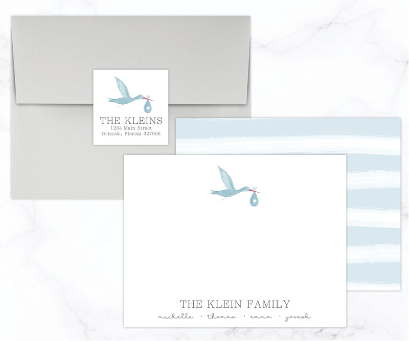 Stork Baby Stationery Set