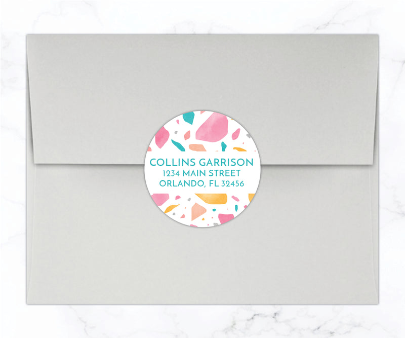 Terrazzo Round Return Address Labels