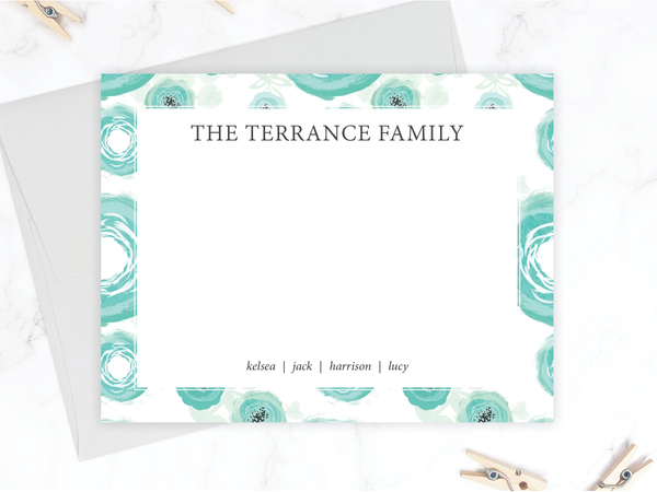 Teal Floral Family Stationery Set - Double Sided