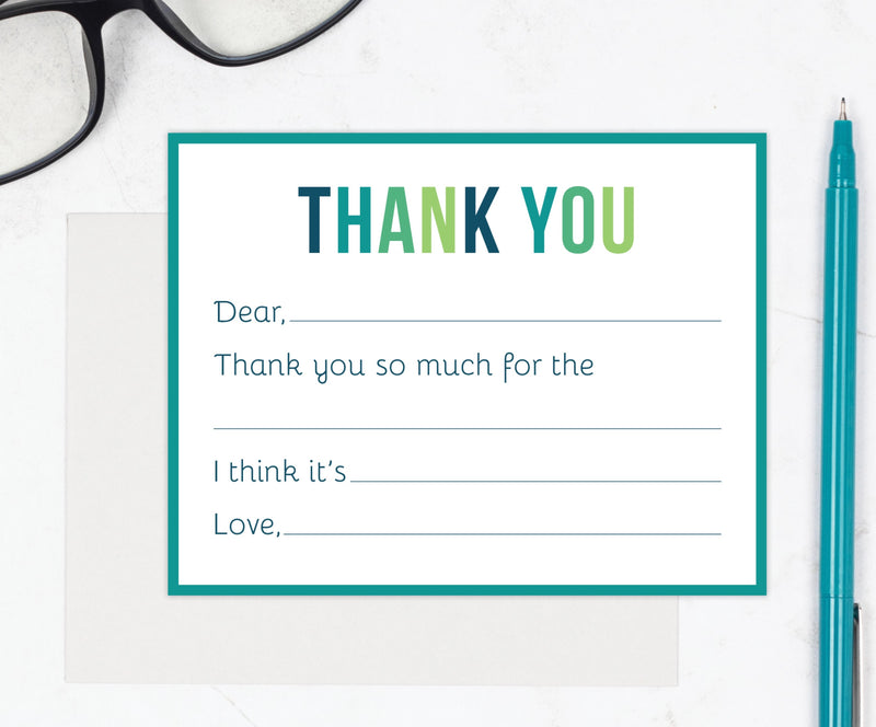 Kids Fill-in-the-Blank Thank You Cards