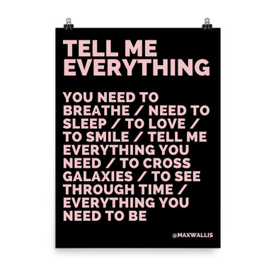 TELL ME EVERYTHING - PINK ON BLACK