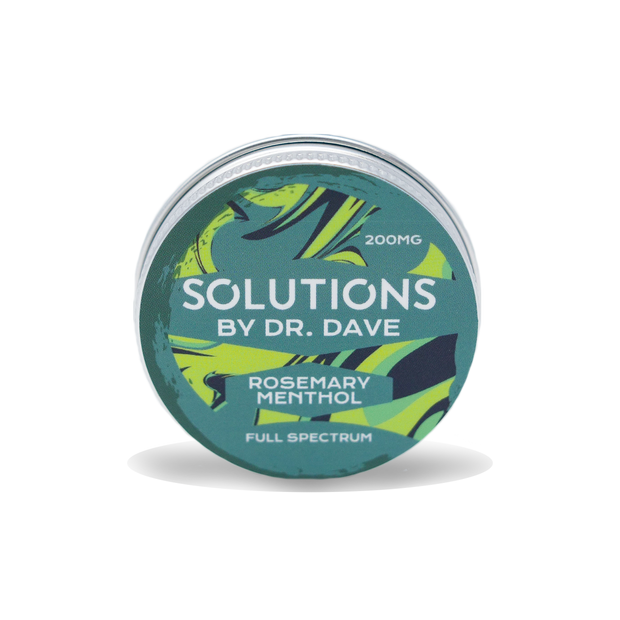 The rosemary menthol balm. It is a circular tin with a dark green, lime green and black swirled pattern. The label says 200 milligram Solutions by doctor Dave Rosemary Menthol. , full spectrum