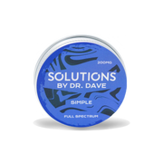 A picture of the unscented simple balm. It is a circular tin with a blue and black swirled pattern. The label says 200 milligram Solutions by doctor Dave Simple, full spectrum.