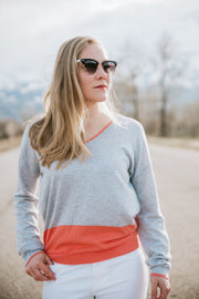 Color Block V-Neck Sweater