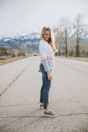 Contrast Stitch White Combo Sweater