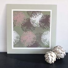 Load image into Gallery viewer, Art print of Sea Anenomes  in sage greens and blush pinks in mount