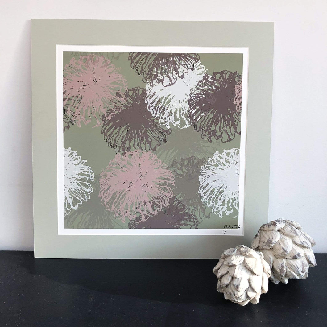 Art print of Sea Anenomes  in sage greens and blush pinks in mount