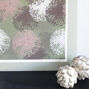 Art print of sea Anenomes in sage greens and blush pinks in mount crop