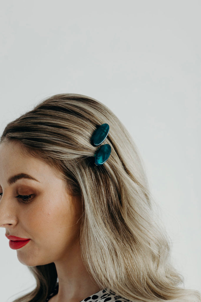 AMBER / TURQUOISE HAIR CLIP (SET OF 2)