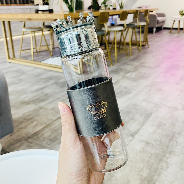Kings and Queens Crown Glass Water Bottle