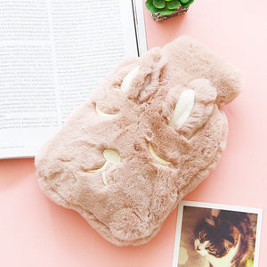 Rabbit ears cozy fluffy hot water hottle