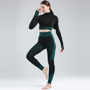 Sandra 2 piece long sleeve seamless workout suit