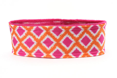 Polar Fleece Tribal Diamonds Pink Orange