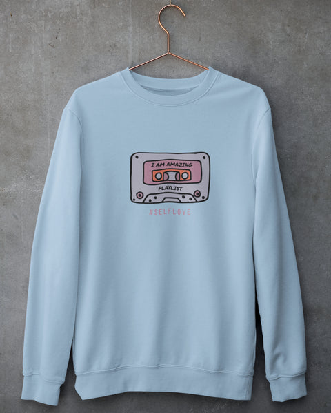 #SelfLove Printed Sweatshirt in Light Blue, Pink