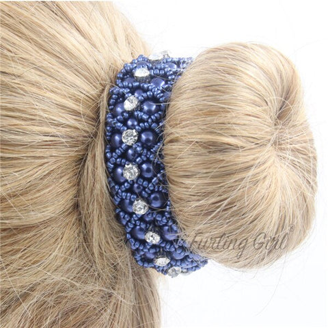 Pearl Scrunchie with Crystals
