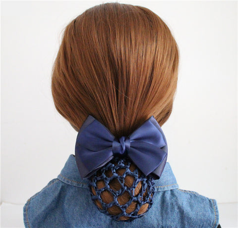 Bun net with clip and bow