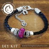 Living Horse Tails DIY Kit - Horsehair Braided Bracelet with Acrylic Bead