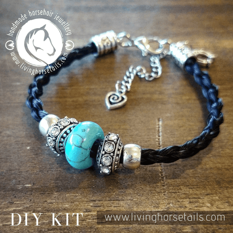 Living Horse Tails - DIY Kit Horsehair Braided Bracelet with Turquoise Bling Beads