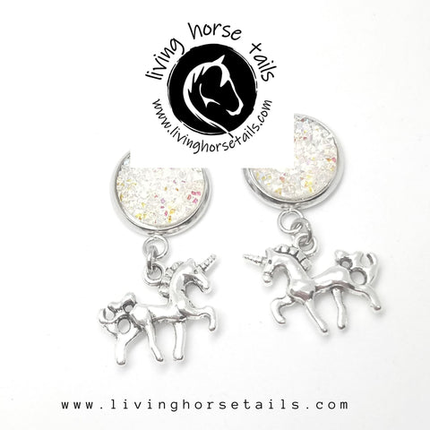 Living Horse Tails - Unicorn glitter earrings