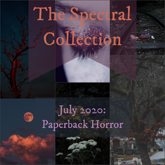 Mood board for the July 2020 Spectral Collection Yarn Club inspired by paperback horror