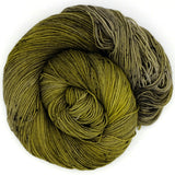 A coil of lichen hand dyed yarn with silver undertones, dappled with charcoal speckles.