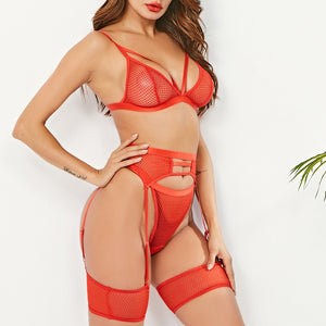 3Pcs/Set Women Sexy Transparent Bra Set + Garter
