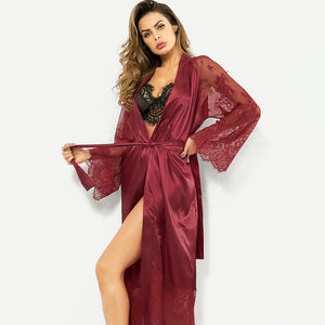 Silky Lace Night Robe Cover Up